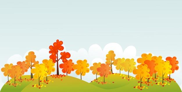 Ilustración de bosque otoñal