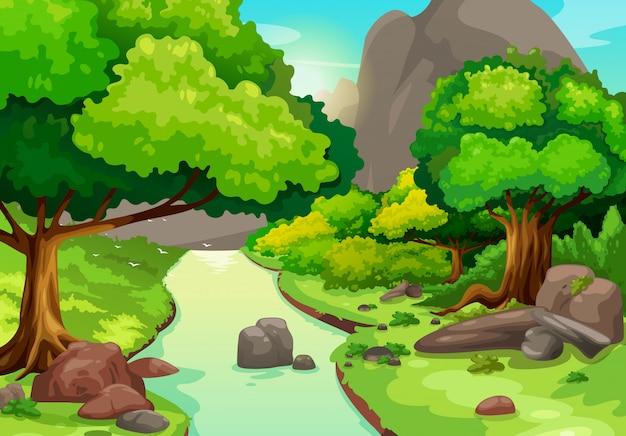 Ilustración de bosque con un vector de fondo de río
