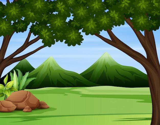 Ilustración de un bosque verde a través de las altas montañas