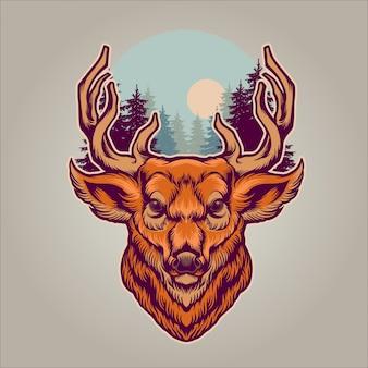 Ilustración de bosques de ciervo y pino
