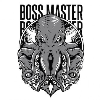 Ilustración de boss master en blanco y negro