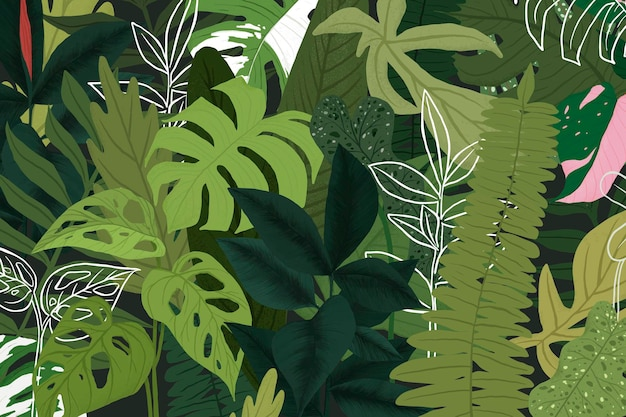 Ilustración botánica de vector de fondo tropical