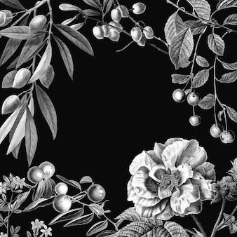 Ilustración botánica vintage de vector de marco rosa y frutas sobre fondo negro