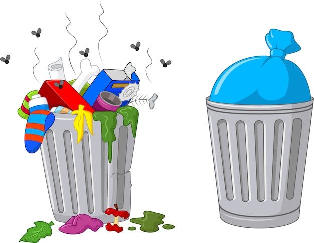 Ilustración de un bote de basura de dibujos animados