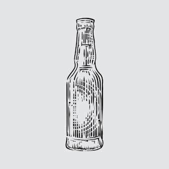 Ilustración de la botella de cerveza en estilo grabado