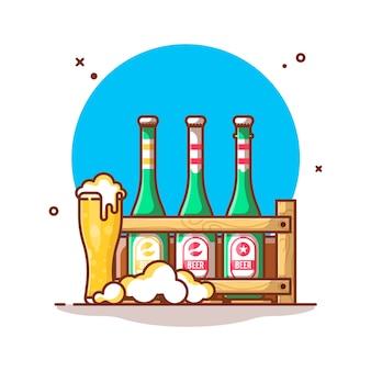 Ilustración de botella de cerveza y vaso de cerveza de estante