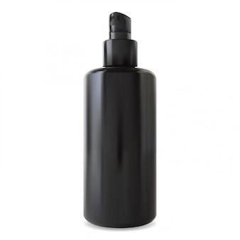 Ilustración de botella dispensador negro. paquete de la bomba