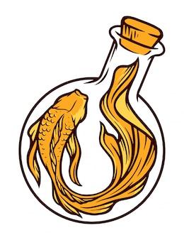 Ilustración de botella de pescado y laboratorio