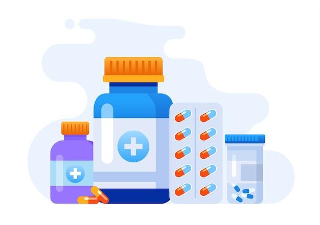 Ilustración de botella y píldoras de medicamentos de farmacia