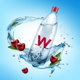 Ilustración de una botella de plástico y una cereza cayeron en salpicaduras de agua sobre fondo azul.