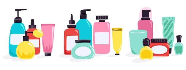 Ilustración de botellas de cosméticos