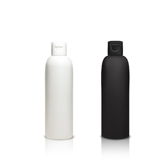 Ilustración de botellas de plástico cosméticas de contenedores realistas 3d para gel de ducha, champú