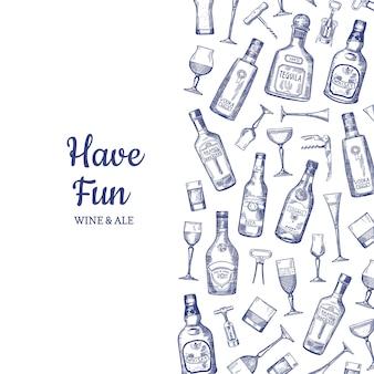 Ilustración de botellas y vasos de bebida de alcohol dibujado a mano de fondo