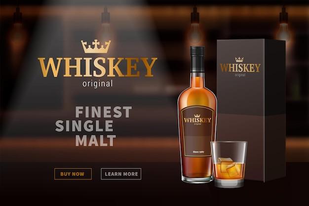 Ilustración de botellas de vidrio de whisky coñac brandy