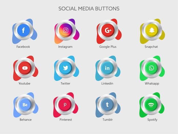 Ilustración de botones de aplicación de redes sociales