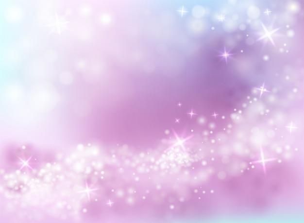 Ilustración de brillo de luz chispeante de fondo púrpura y azul cielo con estrellas centelleantes