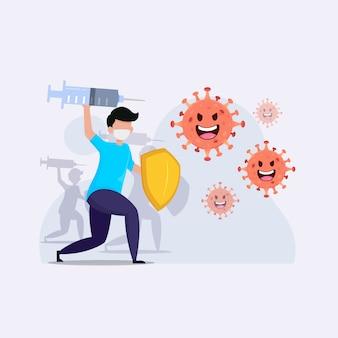 Ilustración de brote de coronavirus de batalla de personas