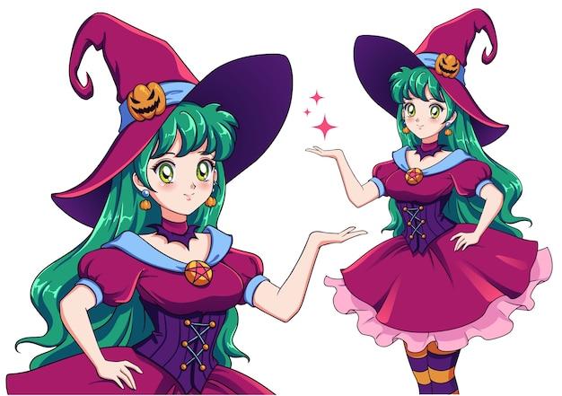 Ilustración de bruja bastante joven