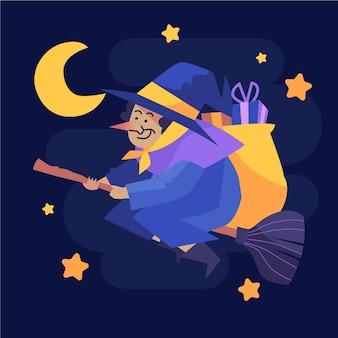 Ilustración de bruja befana plana