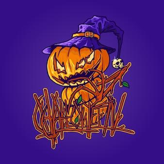 Ilustración de bruja de calabaza de hallowen