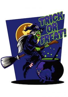 Ilustración de bruja y gato negro
