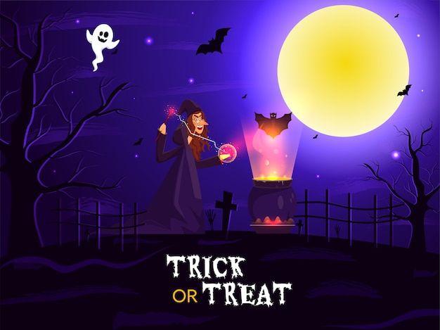 Ilustración de bruja haciendo magia de varita con caldero hirviendo, murciélagos y fantasmas en el fondo del cementerio de luna llena para truco o trato.