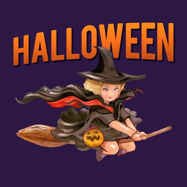 Ilustración de una bruja para halloween