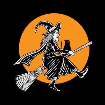 Ilustración de bruja voladora hallowen