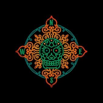 Ilustración de brújula vintage calavera azteca