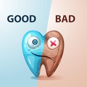 Ilustración buena y mala del diente