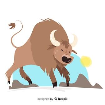 Ilustración de búfalo furioso de vida silvestre