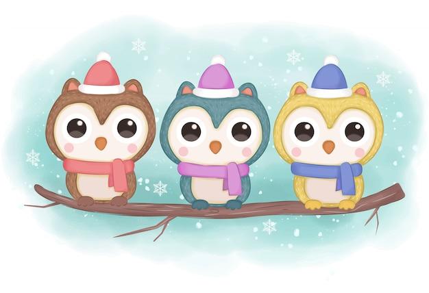 Ilustración de búho de invierno para decoración