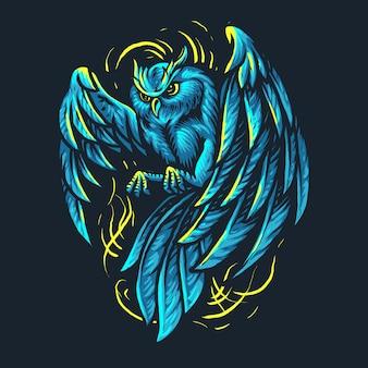 Ilustración de búho de luz azul