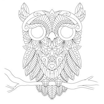 Ilustración de búho, mandala zentangle en libro de colorear de estilo lineal