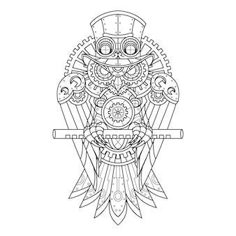 Ilustración de búho steampunk en estilo lineal