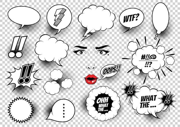 Ilustración de burbujas de discurso cómico