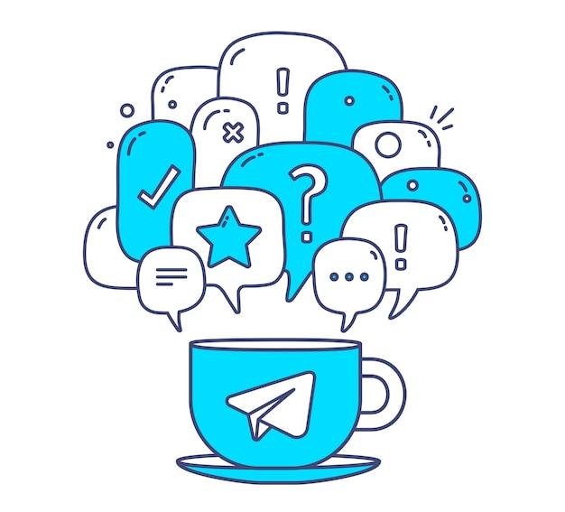 Ilustración de burbujas de discurso de diálogo de color azul con iconos y taza de café sobre fondo blanco. tecnología de la comunicación