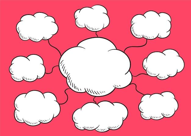 Ilustración de burbujas de discurso en la nube