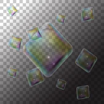 Ilustración de burbujas de jabón diamantes en transparente