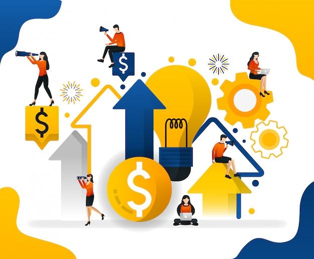 Ilustración en busca de ideas para aumentar la riqueza y el beneficio en los negocios.