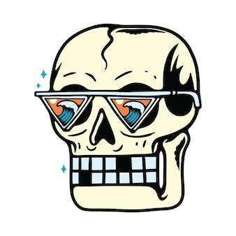 Ilustración de buscador de olas de playa de verano de cráneo