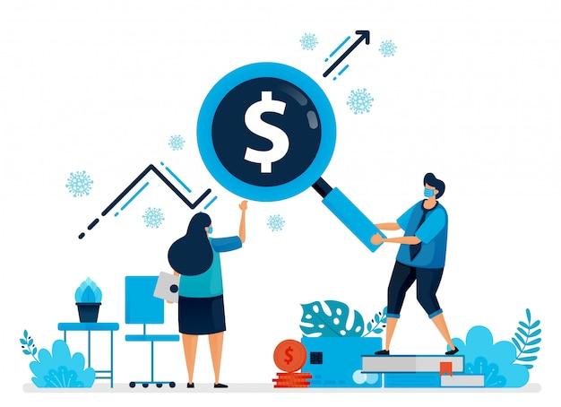 Ilustración de buscar y encontrar inversiones durante una pandemia. covid-19 oportunidad de negocio y aumento de activos. el diseño se puede utilizar para la página de destino, el sitio web, la aplicación móvil, el póster, los folletos y el banner.