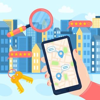 Ilustración de búsqueda de bienes raíces de diseño plano con teléfono