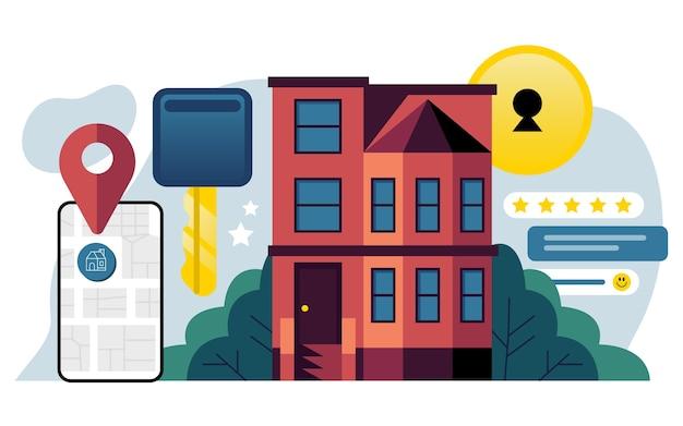 Ilustración de búsqueda de bienes raíces de diseño plano