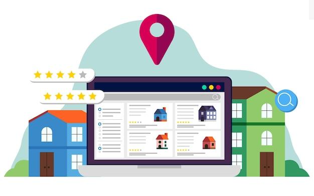 Ilustración de búsqueda de bienes raíces con sitio web