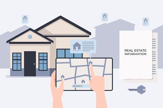 Ilustración de búsqueda de bienes raíces con tableta