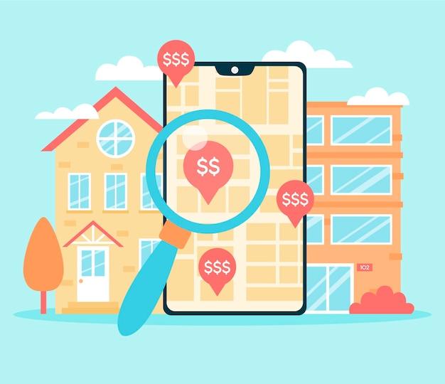 Ilustración de búsqueda de bienes raíces con teléfono inteligente