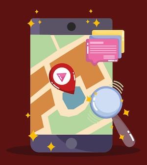 Ilustración de búsqueda y puntero de ubicación de mapa de navegación gps de teléfonos inteligentes de redes sociales