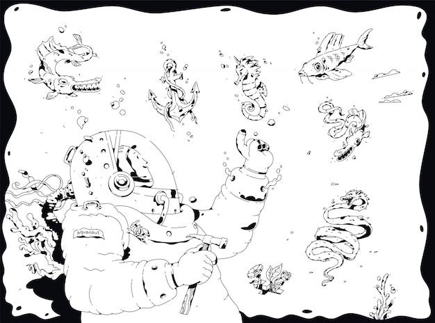 Ilustración de un buzo, aquanaut.
