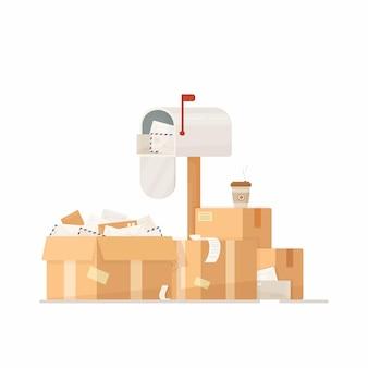 Ilustración de un buzón. entrega de paquetes.
